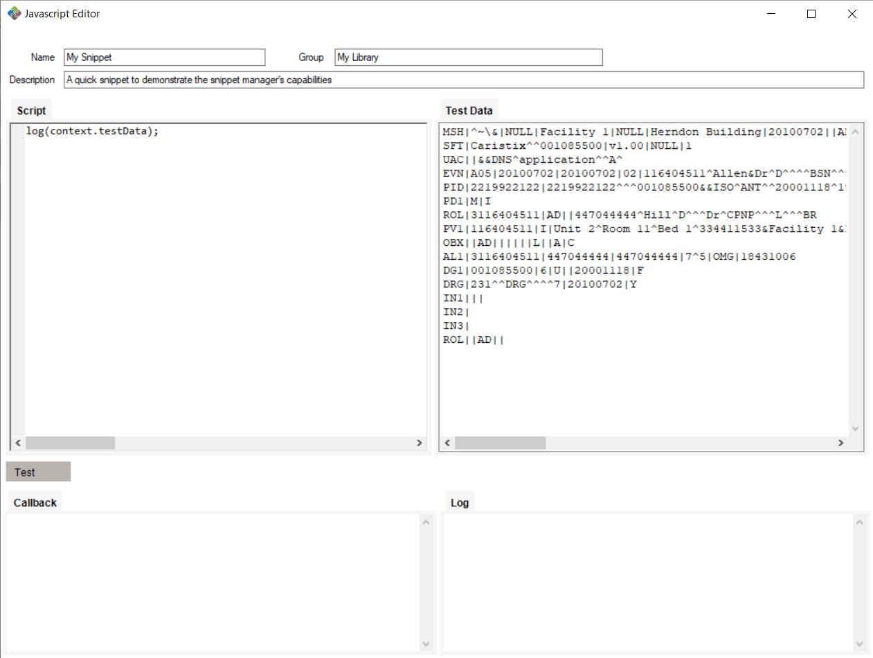 JavaScript Editor With Test Data